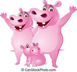 hippopotame, famille