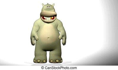 hippopotame, waving., dessin animé