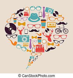 hipster, icônes, media., retro, social