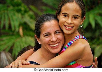 hispanique, fille, mère