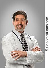 hispanique, sourire, docteur