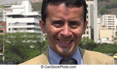 hispanique, sourire, homme affaires