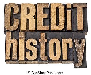 histoire, bois, texte, crédit, type