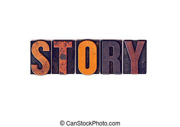 histoire, concept, type, isolé, letterpress