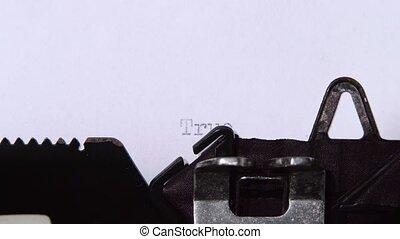 histoire, feuille, haut, papier, fin, typewriter., vrai