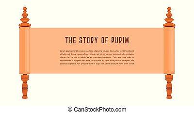 histoire, juif, purim., illustration, acient, gabarit, scroll., bannière