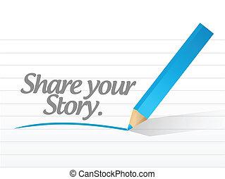 histoire, part, message, illustration, ton