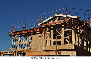histoire, sous, deux, construction, nouvelle maison