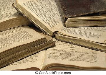 historique, livres, pile