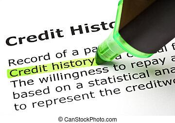 """history"""", """"credit, mis valeur, vert"""