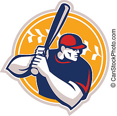 hitter, base-ball, retro, pâte, côté, ouate