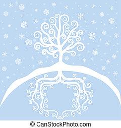 hiver arbre, chute neige
