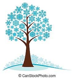 hiver arbre, flocons neige