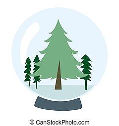 hiver, arrière-plan., design., boule de neige, blanc, élément, isolé
