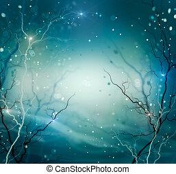 hiver, arrière-plan., résumé, nature, fantasme, toile de fond