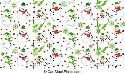 hiver, bonhomme de neige, modèle, snowmen, snowflakes., skis