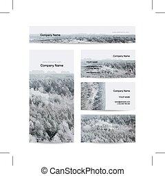 hiver, business, forêt, fond, cartes, brumeux, conception