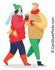 hiver, café, marche, tasses, parc, couple