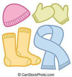 hiver, casquette, chaussettes, habillement, mitaines, écharpe