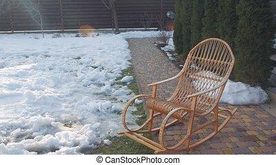 hiver, chaise, balancer