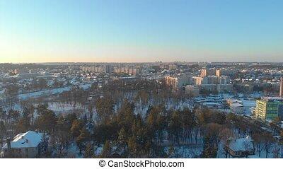 hiver, cityscape, aérien