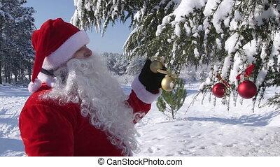hiver, claus, arbre, main, onduler, forêt, santa, décoré, noël