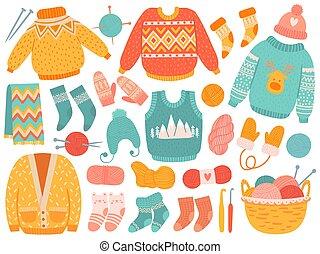 hiver, clothes., chapeaux, habillement, ensemble, tricotter, écharpe, chaussettes, outils, laine, fait main, tricot, vecteur, chandails, fil, moufle, aiguilles