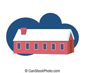 hiver, coloré, dessin animé, maison, village