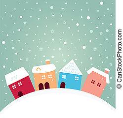 hiver, coloré, neiger, maisons, derrière, colline