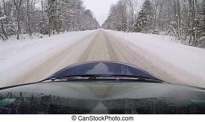 hiver, conduite, voiture, jeûne, route pays