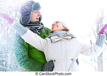 hiver, coupler vacances, snow., amusement, outdoors., avoir, heureux