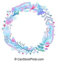 hiver, décoratif, cadre, items.
