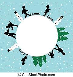 hiver, enfants, rond, silhouettes, jeu carte