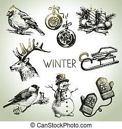 hiver, ensemble, noël, main, dessiné