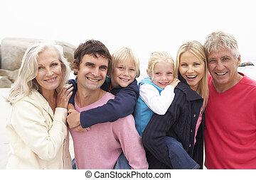 hiver, famille, génération, haut, trois, fin, plage