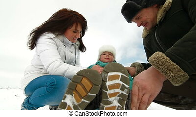 hiver, famille, heureux