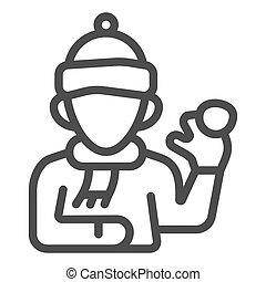 hiver, fond, chapeau blanc, saison, icône, vecteur, boule de neige, signe, concept, gosse, jouer, garçon, baston, contour, style, mobile., icône, écharpe, ligne, graphics.