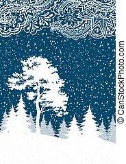 hiver, forêt, paysage, noël