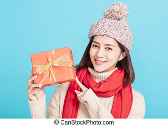 hiver, giftbox, femme, projection, jeune, robe