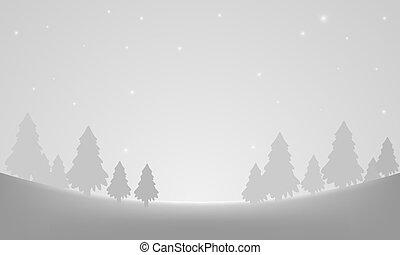 hiver, gris, paysage