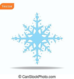 hiver, illustration., arrière-plan., vecteur, isolé, snowflake blanc