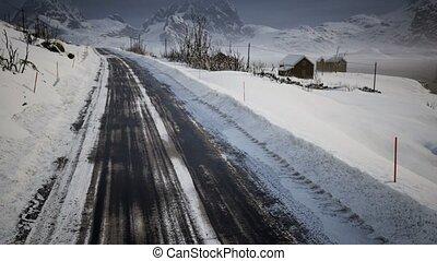 hiver, lofoten, route, îles