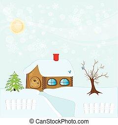 hiver, maison