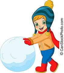 hiver, mignon, jouer, peu, vêtements, garçon, boule de neige