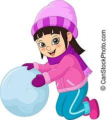 hiver, mignon, jouer, peu, vêtements, girl, boule de neige