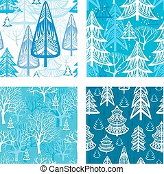 hiver, modèle, forêt, seamless
