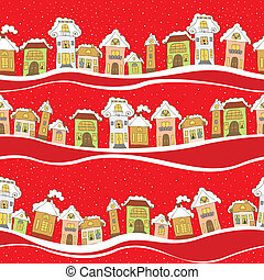 hiver, modèle, seamless, maisons, fond, temps, rouges