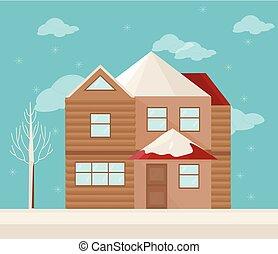 hiver, moderne, house., illustration, vecteur, architecture, fond, façade