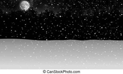 hiver, neige, animation, par, forêt, nuit, en mouvement