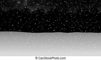 hiver, neige, par, forêt, animation2, nuit, en mouvement
